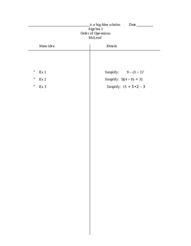 Two-column notes for Order of Operations