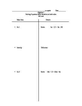 Two-column notes on solving equations with variables on bo