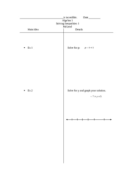 Two-column notes on solving one-step inequalities