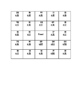 Two- digit Addition Bingo - No Regrouping