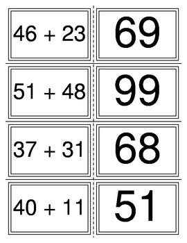 Two digit Addition Flash Cards with Answers Match Equation