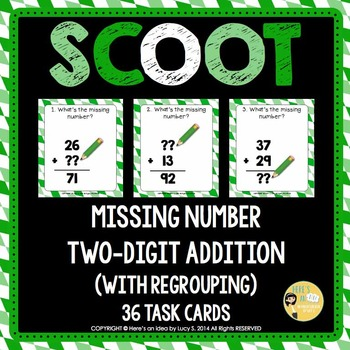 Two-digit Addition Missing Number Scoot - with regrouping