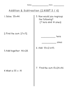 Two-digit Addition & Subtraction Assessment
