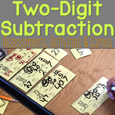 Two-Digit Subtraction Task Cards & Activities for Math Centers