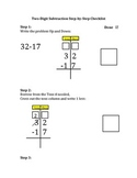 Two digit Subtraction Checklist