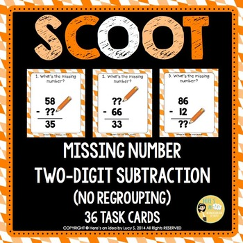 Two-digit Subtraction Missing Number Scoot - no regrouping - 36 Task Cards