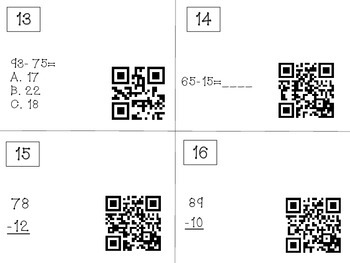 Two-digit Subtraction Qr Code Review Game
