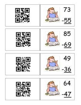 Two digit Subtraction with QR Codes