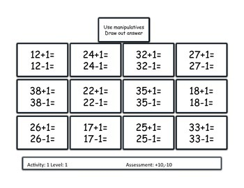 Two digit addition +/- 10 CCSS Differentiated and Formative based assessment