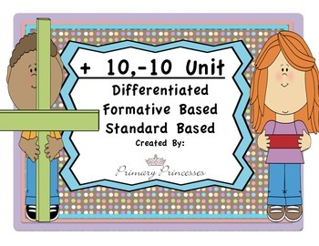 Two digit addition +/- 10 CCSS Differentiated and Formativ