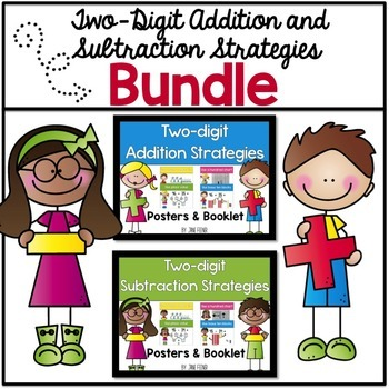 Two digit addition and subtraction posters and booklet bundle