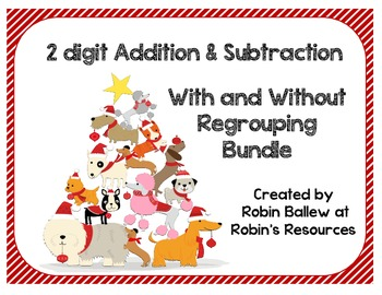 Two digit addition & subtraction task cards with and witho