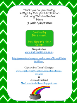 St Patricks Day multiplication and long division review