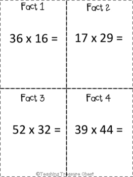 Two-digit by two-digit multiplication scavenger hunt