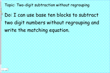 Two digit numbers subtraction without regrouping