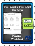Two-digit x Two-digit Box Array Multiplication Worksheet