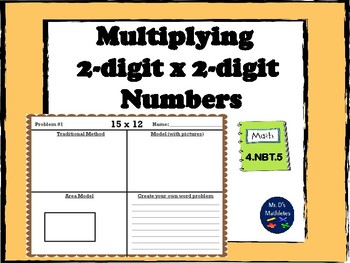 "Two-digit x two-digit multiplication ""Traditional Method and Area Model"""