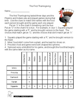two for one thanksgiving logic puzzles by chris bartal tpt. Black Bedroom Furniture Sets. Home Design Ideas