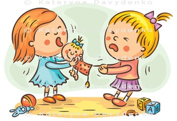 Two little Girls are Fighting in the Playroom Because of a Doll