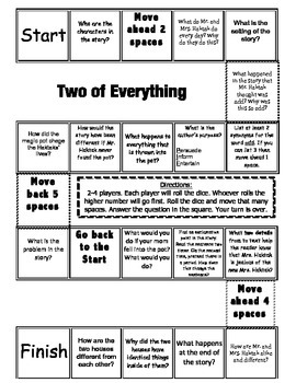 """""""Two of Everything"""" Comprehension Game Board- Journeys story 2nd grade"""