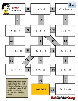 Two-step Equations Mazes (Fun Worksheets) by MathFileFolderGames