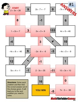 Two-step Equations Mazes (Fun Worksheets)