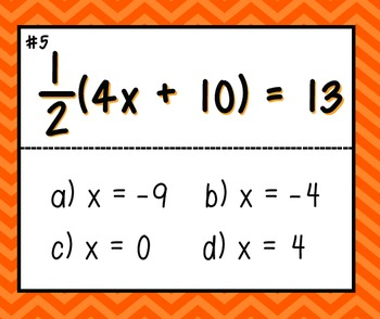 Two-step equations 4-corners game