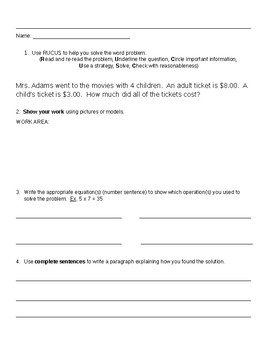 Two-step word problems homework sheet
