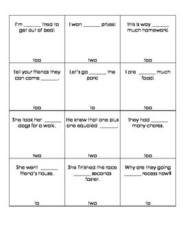 Two, to, too Homophone Game