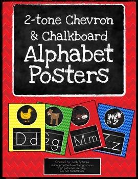 Two-tone Chalkboard Chevron Alphabet