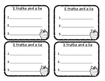 Two truths and a lie- Back to School