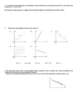 Two variable statistics practice paper for Algebra 1