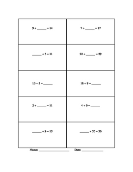 "Two worksheets, ""Find the missing Addend and/or subtrahend or minuend"""