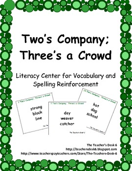 Two's Company; Three's a Crowd Literacy Center for Vocabulary Reinforcement