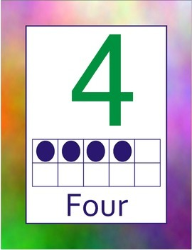 Tye Dye Number Posters Ten 10 Frame dots