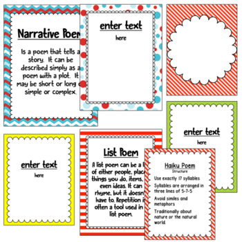 Types of Poems ~ Editable