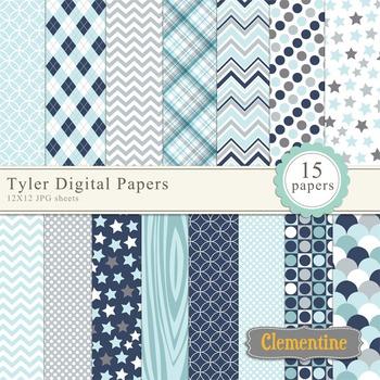 Tyler digital scrapbooking paper 12x12