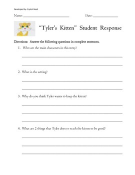 Tyler's Kitten Easy Reader Chapter Book Guided Discussion and Student Response