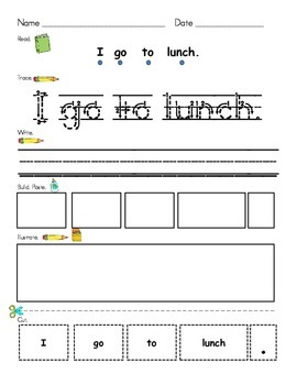 Tyner - Stage 1 Cut Up Sentences Pack 1