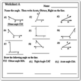 Type of Angles (Acute, Right, and Obtuse Angles Worksheets)