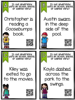 Type of Verb QR Code Task Cards