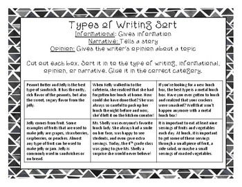 Type of Writing Sort Informational, Opinion, & Narrative PRINTABLE for Test Prep