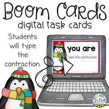 Type the Contraction Boom Cards (Digital Task Cards) for Grades 2 and 3