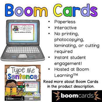Type the Sentence (Set 2) Boom Cards (Digital Task Cards)