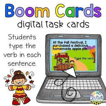 Type the Verb Boom Cards (Digital Task Cards) Fall Edition