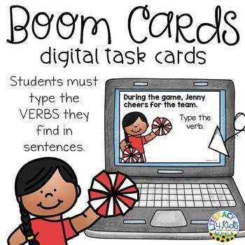 Type the Verb Boom Cards (Digital Task Cards) Set 2 for 1st and 2nd Graders