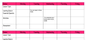 Type to Fill Lesson Plan Template - Edit and Customize