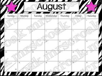 Typeable Calendar: Zebra Theme (3 years!)