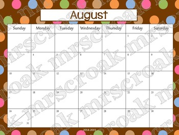 Typeable Calendar: Chocolate and Colorful Polka Dots (3 years!)