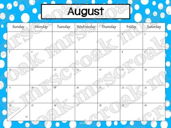 Typeable Calendar: Bold Polka Dots (3 years!)